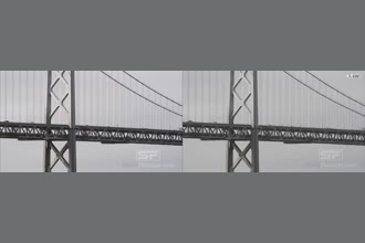 a thumdnail for published video. Vibration of bridge parts caused by the movement of traffic is amplified!