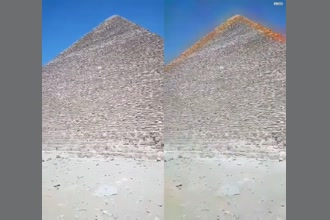 a thumdnail for published video. Bouncing RF signal off the great pyramid using the Schumann resonances and recording the effects. Notice the vehicle driving by has no aura.   Experiment by David Sereda. Video magnification by Dami Egbeyemi.